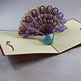 3D Pop Up Peacock Greeting Cards. Beautiful Thank You, Gift, Love, Valentine, Invitation, Baby, Wedding etc. Cards from Love Our Gifts. Intricately Cut and Hand Assembled. Ships Quickly from New York.