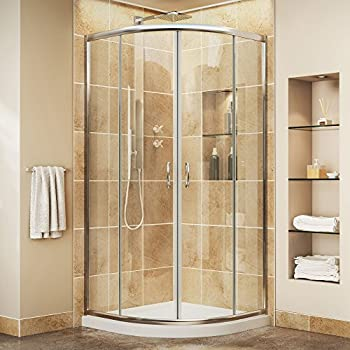 DreamLine Prime 36 in. D x 36 in. W Kit, with Corner Sliding Shower Enclosure in Chrome and White Acrylic Base