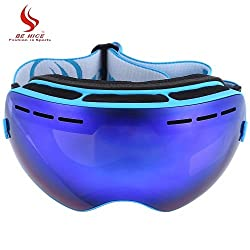 Generic New Be Nice Double Lens UV400 Anti-Fog Big Spherical Skiing Glasses Winter Sport Protective Snowboard Skiing Eyewear Goggles Glasses Blue