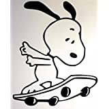 Snoopy Skateboarding The Peanuts Decal Vinyl Sticker|Cars Trucks Vans Walls Laptop|Black|5.75 in|CCI376 (Color: black)