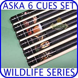Aska Wildlife WL2 6 pool cue sticks set