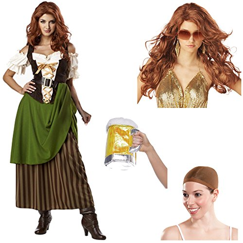 Tavern Maiden Adult Costume with Auburn Wig and Wig Cap, Beer Stein Purse (S)