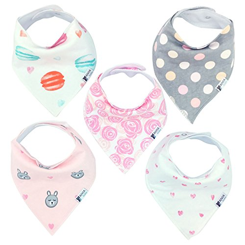 AIVIA Baby Bandana Bib 5-Pack Set For Girls - Absorbent Soft Cotton Perfect for Drooling and Teething (Sweet Heart Collection)