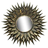 Logam Sunflower Black & Gold Antique Finish Round Mirror