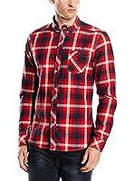 Solid Camisa Hombre (Rojo / Azul)