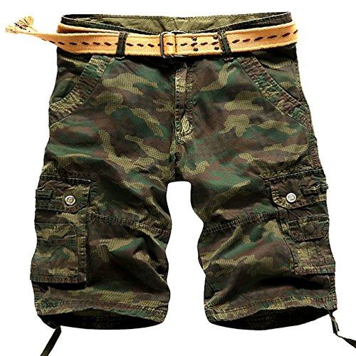 YouPue Casual Pantaloni Cargo-Pantaloncini Loose Tasche Pantaloni Pantaloncino Uomo Taglia 34 Army Green