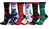 Differenttouch 6 Pairs Women Colorful Fancy Design Soft & Stretchy Novelty Crew Socks (Christmas)