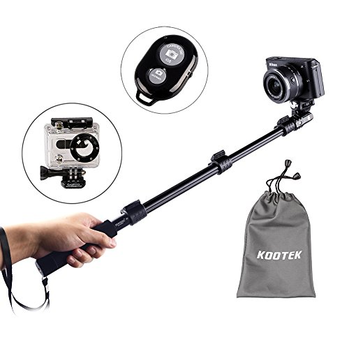 Kootek® Professional Adjustable Handheld Self Portrait Selfie Stick Pole Monopod For Iphone 6 5 5S 4S 4 Samsung Galaxy S5 S4 S3 Note 3 2 And Other Android Smartphones With Wireless Bluetooth Camera Remote Control Shutter Release And Tripod Mount For Gopro