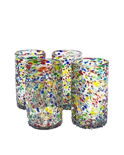 Bambeco Set of 4 Recycled Confetti Pint Glasses, Multi