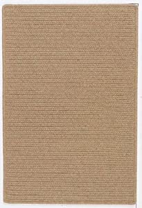 Braided Solid Wool Area Rug Carpet Taupe 2' x 4' Runner Reversible Wool-blend Durable