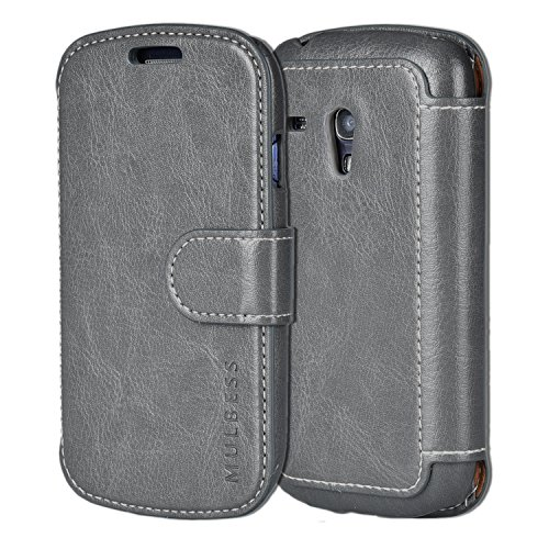 Samsung Galaxy S3 mini Case Wallet,Mulbess [Layered Dandy][Vintage Series][Gray] - [Ultra Slim][Wallet Case] - PU Leather Flip Cover With Credit Card Slot for Samsung Galaxy S3 mini i8190 (Sport Case Samsung S3 Mini compare prices)