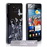 Samsung Galaxy S2 i9100 Stylish Butterfly Flower Hard Hybrid Case Cover Black And Silver With Screen Protector Film And Grey Micro-Fibre Polishing Clothby Yousave Accessories