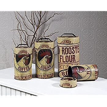 Seed Bag Red Rooster Food Safe Tin Canister Set Vintage Prim Rustic Kitchen Decor