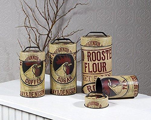 Seed Bag Red Rooster Food Safe Tin Canister Set Vintage Prim Rustic Kitchen Decor 0
