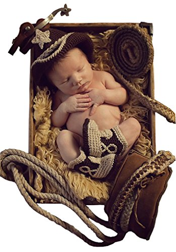 Infant Crochet CowBoy Photos Clothing Set Star Hats Shoes