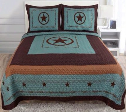 western star barbed wire king size quilt and shams 3pc set turquoise blue