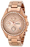 Fossil Chronograph Rose Gold Dial Women's Watch - ES3352