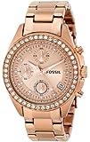 Fossil - ES3352 - Montre Femme - Quartz Chronographe - Chronomètre - Bracelet Acier Inoxydable Plaqué Or Rose
