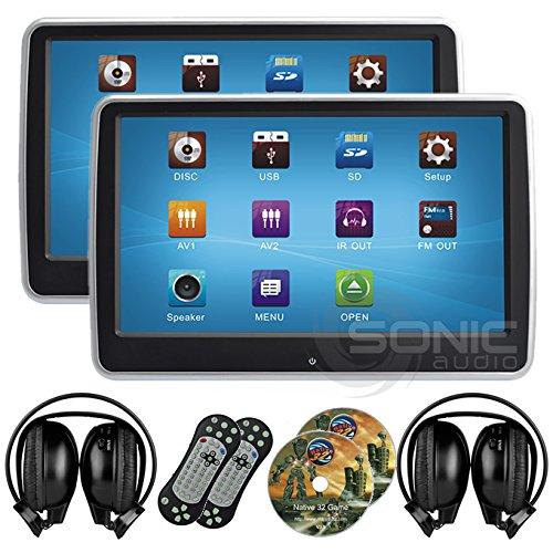 2-x-Sonic-Audio-hr-10ct-Universal-Touchscreen-257-cm-tablet-style-Wechselrahmen-Kopfsttze-DVD-PlayerBildschirm-mit-USBSD-und-Wireless-Infrarot-Kopfhrer-Plug-Rcksitze-Entertainment-System