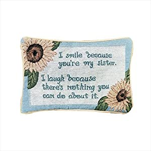 Manual Woodworkers and Weavers TWSYMS I Smile Because Your My Sister Tapestry Pillow Witty Saying Filled With Recycled Fibers 12.5 X 8.5 in. Poly Blend