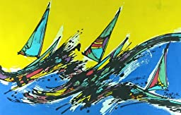 Original Batik Art Painting on Cotton Fabric, \'Sailing the Waves\' by Taufik (75cm x 45cm)