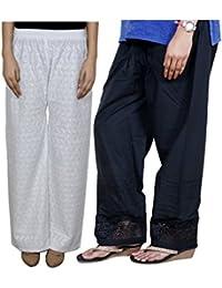 Indistar Women Full Cotton Chikan White Palazzo With Cotton Black Chaudi Lace Semi- Patiala Salwar - Free Size... - B01GL4Z4PO