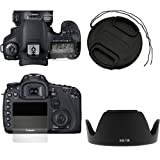For Canon Digital SLR EOS 7D Accessories Kit :67mm EW-73B Camera Lens Hood + 67mm Camera Snap on Lens Cap with Strap + LCD Screen Protector By GTMax