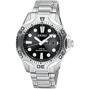 Click to buy Seiko Watches for Men: Seiko Black Dial Silver Tone Stainless Bracelet Solar Mens Watch - SNE107 from Amazon!