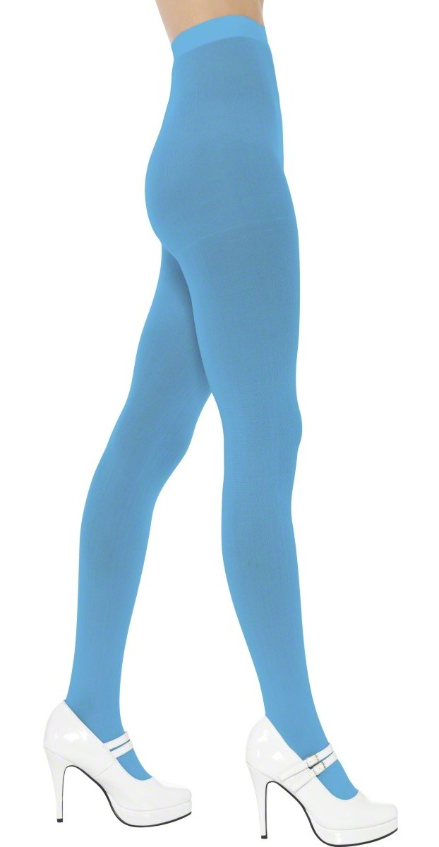 Smiffys Sexy Adult Neon Opaque Tights 80s Punk Blue Stockings toyfa black