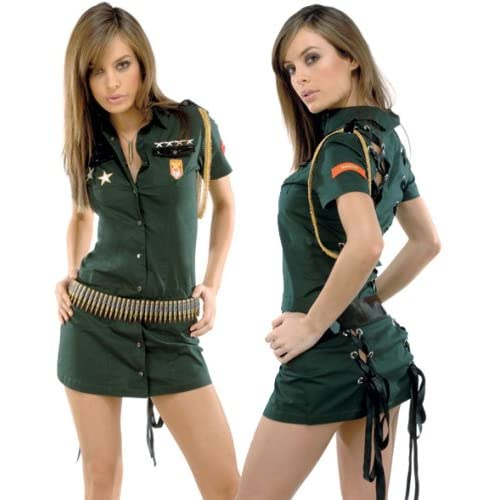 Adult Halloween Costumes : Hot Girls in Forplay Army Seductress Costume