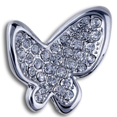 Pugster Christmas Gifts Silver Clear Empress Monarch Silver Flying Butterfly Winged Swarovski Crystal Rhinestone Brooches And Pins