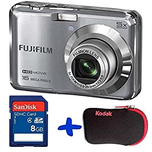 Bundle: Fuji AX650 Digital Camera in Silver + Sandisk SD 8GB + Allcam Hard Case (Fujifilm Finepix AX650 Black, 16MP, 5xOptical Zoom, 2.7