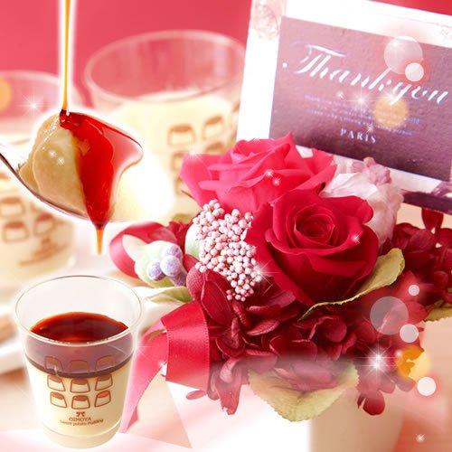 母の日ギフト 花とスイーツ プリザーブドフラワーとプリンセット ギフトセット (あか色の花)