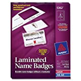 Avery Laminated Name Badges, 2.25 x 3.5 inches, White, Box of 30 Badges and 30 Clips (5362)