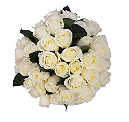 50 Farm Fresh White Roses Bouquet By JustFreshRoses | Long Stem Fresh White Rose Delivery | Farm Fresh Flowers