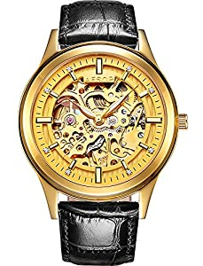 Mens skeleton Stainless Steel Automatic Mechanical Luminous waterproof Black Leather Gold Dial Watches