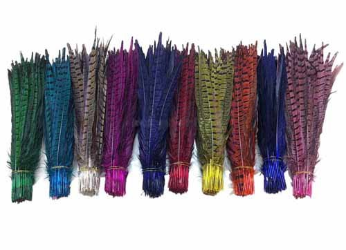 [Pheasant Feathers Lot of 10/20/50/100 pcs Beautiful Natural Pheasant Tail Feathers Dyed 12 colors Pheasant Feathers Long 12 - 14 inches/30 - 35 cm. (20 pcs, Mixed] (Yellow Feather Wings Costume)