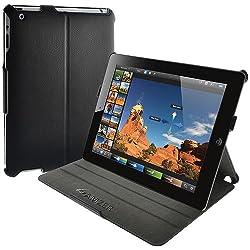 Amzer 93526 Shell Portfolio Case - Black Leather Texture for Apple iPad 4 with Retina Display, Apple iPad 3, Apple iPad 4