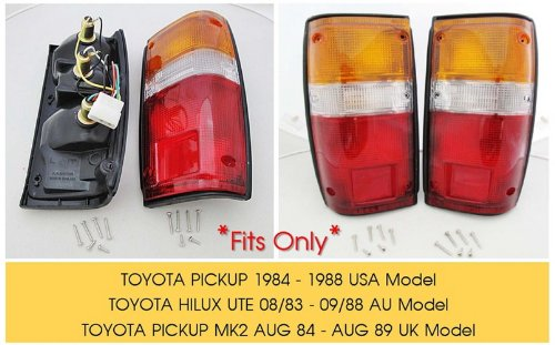 toyota pick up truck 1984 1988 tail lights lamps pair 84. Black Bedroom Furniture Sets. Home Design Ideas