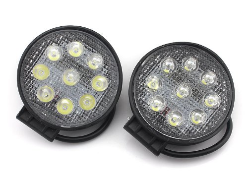 Pandamoto Led Work Light Spot Beam Off Road Lamp Cree Chip 27W 2430Lm Jeep Truck 4Wd Round 2 Pcs 6000K