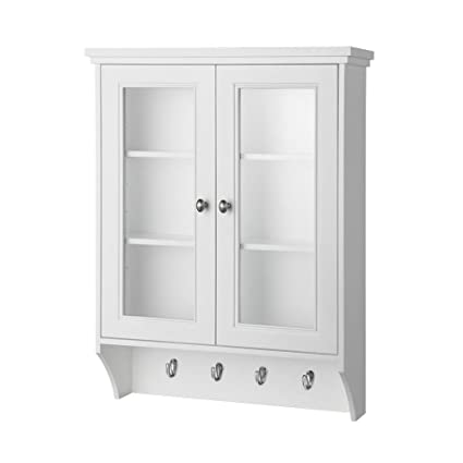Foremost GAWW2431 Gazette Wall Cabinet in White with Glass Door