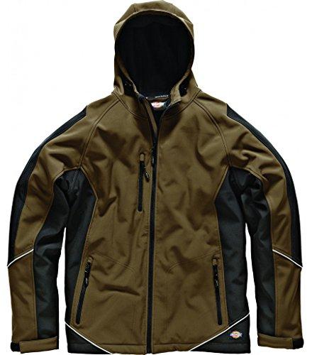 Dickies Bicolore Giacca Softshell Impermeabile Cappotto in pile lavoro Workwear Multicolore Kaki/nero