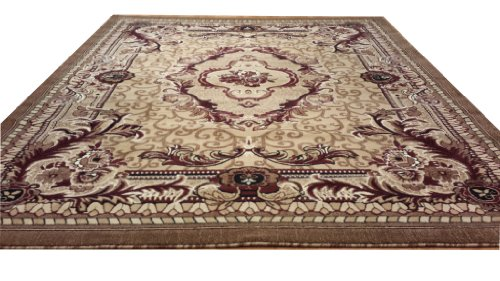 E521 French Aubusson Victorian Traditional Medallion Beige Hand Carved 5x8 Actual Size 5'3x7'2 P59.jpg