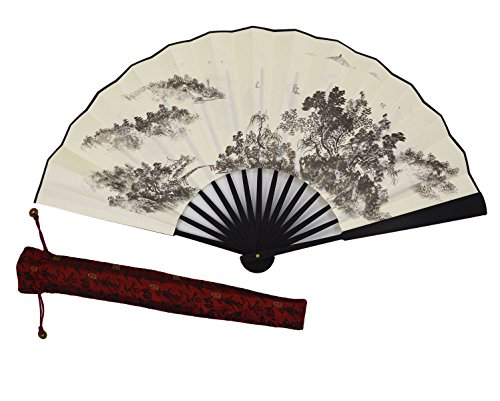 Amajiji High Quality Handmade Silk Folding fan for Men Chinese Style (33CM) (002)