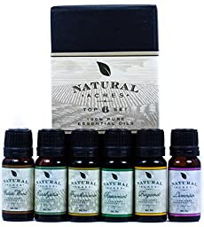 Essential Oils 6 Pack by Natural Acres 100 Pct Pure Therapeutic Grade Essential Oil 10 Milliliter