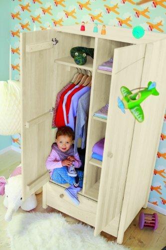 BioKinder 22205 Luca Schrank Kinder-Kleiderschrank aus Massivholz Kiefer weiß lasiert 165 x 80 x 60 cm online bestellen