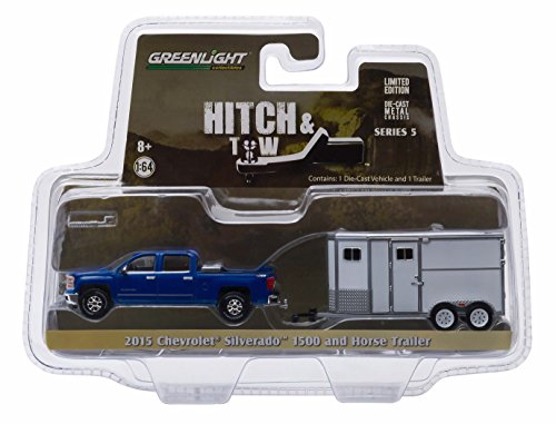 2015 CHEVROLET SILVERADO & UNMARKED HORSE TRAILER * Hitch & Tow Series 5 * 2015 Greenlight Collectibles Truck & Trailer Limited Edition 1:64 Scale Die-Cast Vehicle Set (1 64 Enclosed Trailer compare prices)