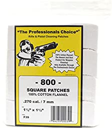 The Professional\'s Choice Pistol/Rifle Cotton Flannel 1 1/2-Inch Square Gun Cleaning Patches (800-Pack), .270-Calibre/7mm
