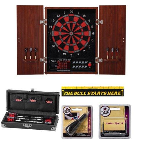 Neptune Dartboard Cabinet With Pitbull Tungsten Darts And Accessory Set