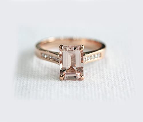 Voguegem Prongs Emerald Cut Morganite Channel Set Diamonds 14K Rose Gold Engagement Ring